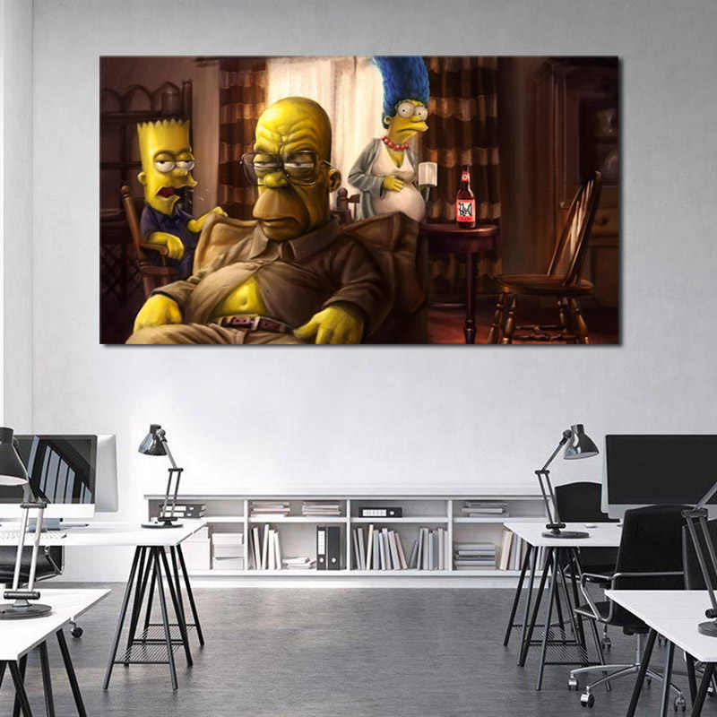 Tv Cartoon Breaking Bad Marge Homer Bart Art Toile Affiche Peinture Huile Mur Photo Hd Imprimer Maison Chambre Décoration Cadre