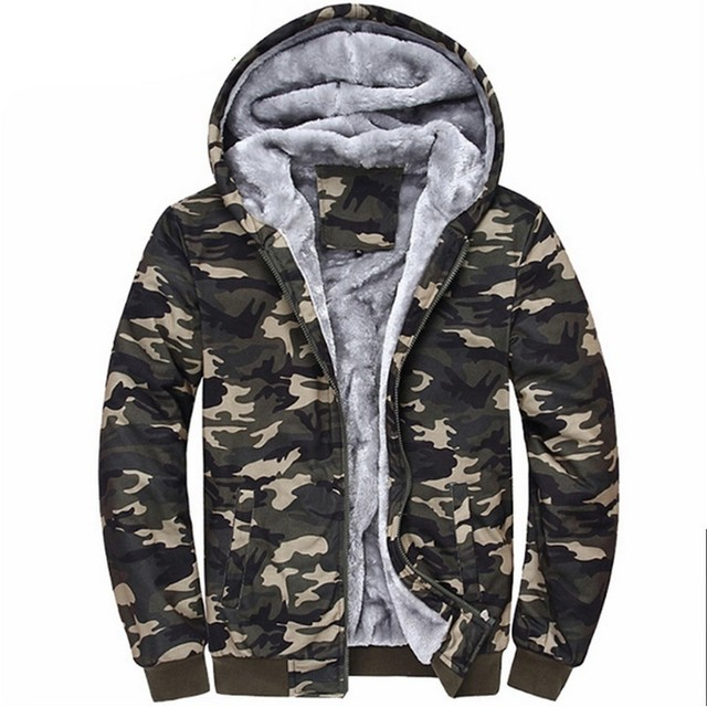 Men s Winter Jacket Thick Warm Coats Jackets Fashion Army Style Camouflage  Color 4XL Bomber Sportswear Fleece Wool Thick Hooded 2617ad797c2b