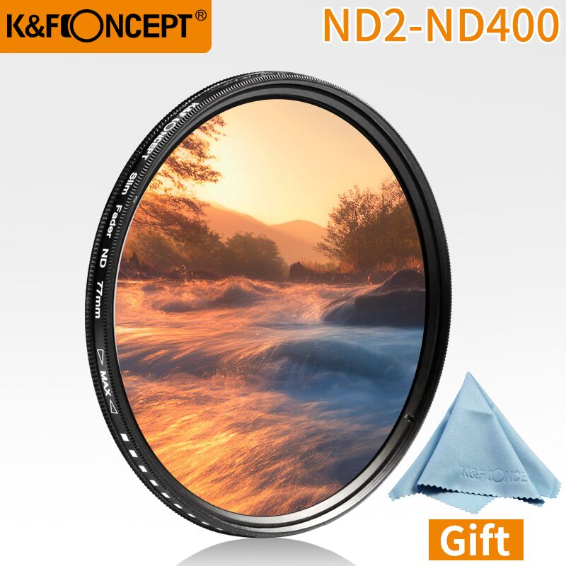 K & F concepto 52mm 55mm 58mm 62mm 67mm 72mm 77mm Slim Fader variable ND Filtro de lente ajustable ND2 a ND400 de densidad Neutral