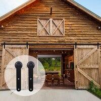 LWZH American Style Sliding Barn Door Hardware Kit Closet Door Hardware Kit Round Shaped Hangers For