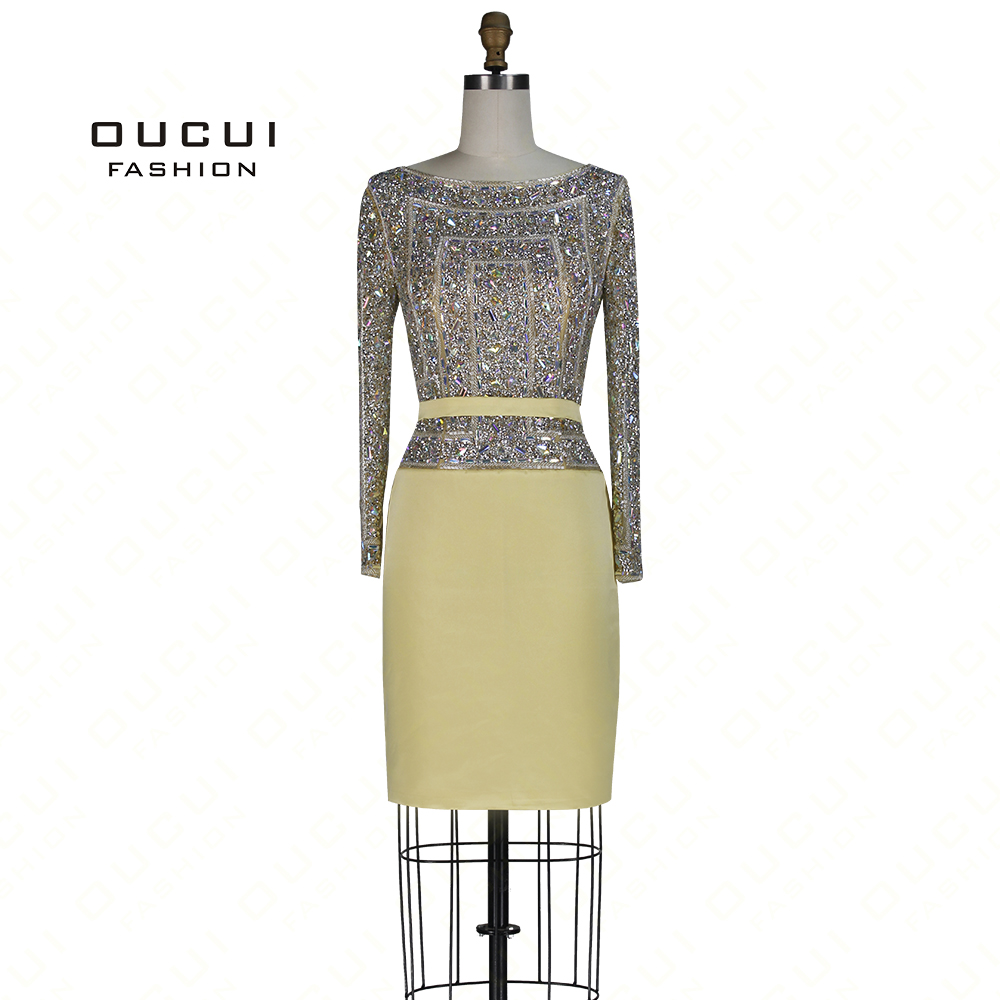 Long Sleeves Sequin Cocktail Dress Real Photos Stain Sashes Straight Full Crystal Handmade  Knee-Length OL102804B