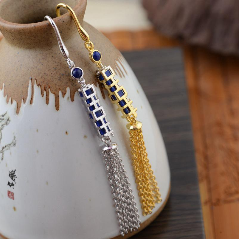 Natural Lapis Lazuli Long Tassel Earrings For Women Vintage Chinese Word Happness Gold Plated 925 Sterling Silver Jewelry