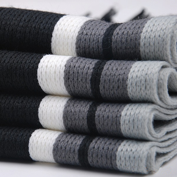 Black White Striped Winter Scarf | Men's Scarves | Up to 60% Off Now