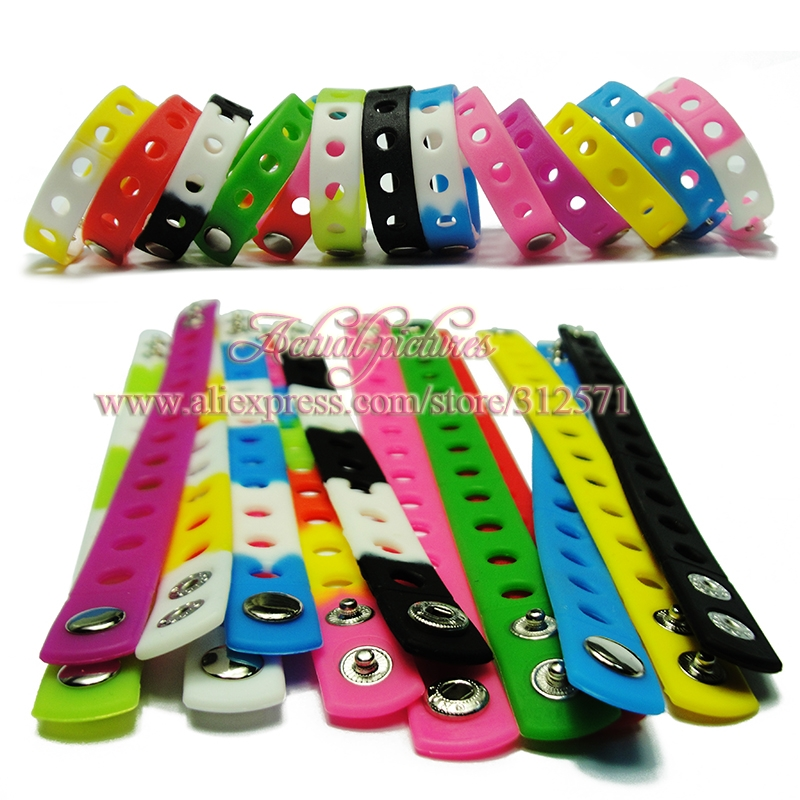 Free shipping 100pcs Hot 14 styles colorful 21cm silicone wristbands bracelets fit shoe charms fashion decoration children gifts free drop shipping 2017 newest europe hot sales fashion brand gt watch high quality men women gifts silicone sports wristwatch