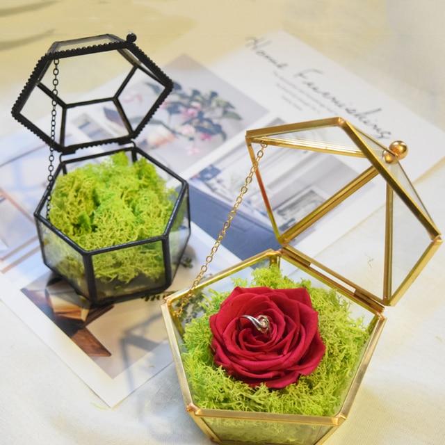 Gold Gl Box Engagement Ring Jewelry Gift Wedding Holders Jewelery Dish Geometric Love