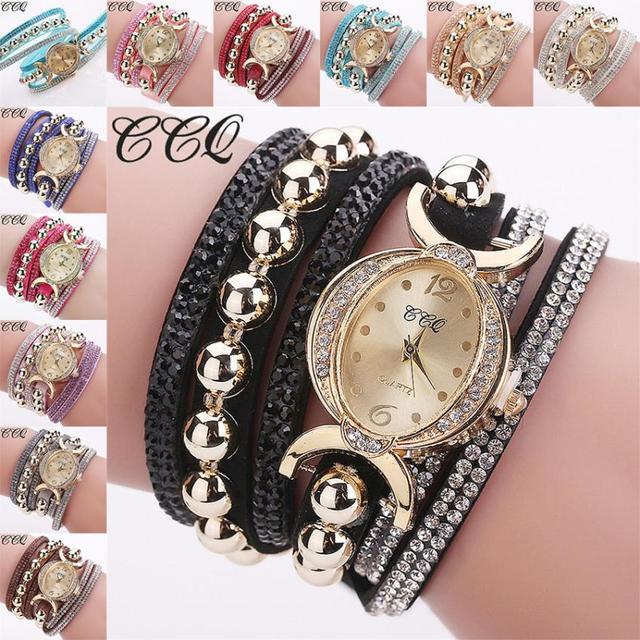CCQ Women Fashion Casual Analog Quartz Women Rhinestone Watch Bracelet watch wom