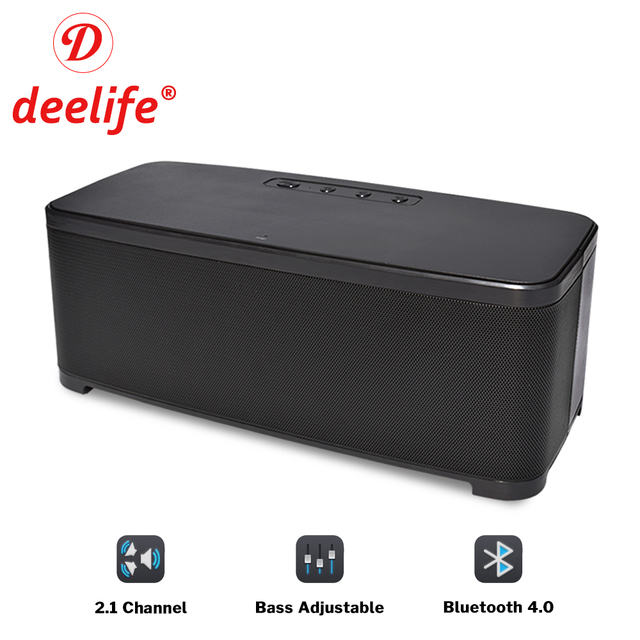 Deelife Home Bluetooth Speaker with Bass Adjustment Powerful Loudspeaker Wireless 2.1 Channel Stereo Music Surround Sound Box