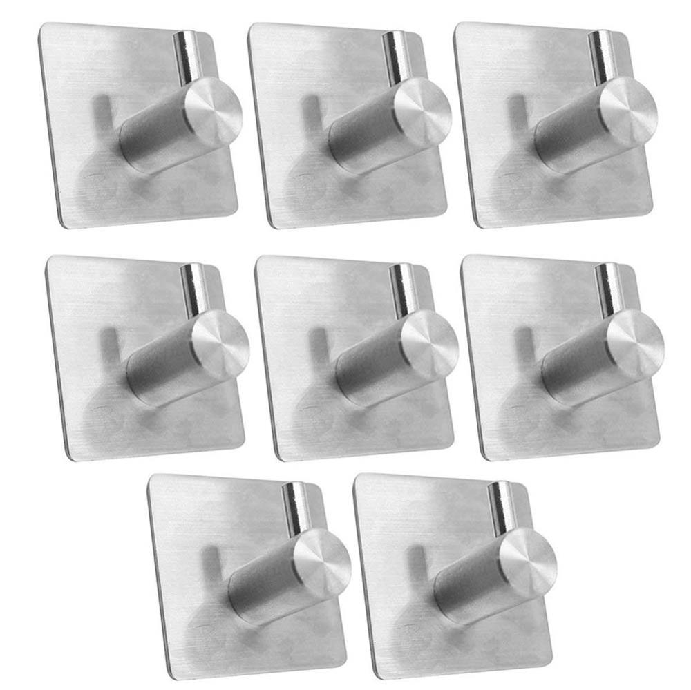 10pcs 4pcs Stainless Steel 3M Self Adhesive Hooks Sticky Wall Door Hook Robe Tea Towel Rustproof Towel Rack, Clothes Coat Hanger