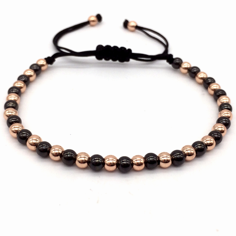 NAIQUBE 2018 New Arrival Diy Design Mix 4MM Copper Beads Men/Women Braided Macrame Bracelets & Bangles Jewelry For Gift