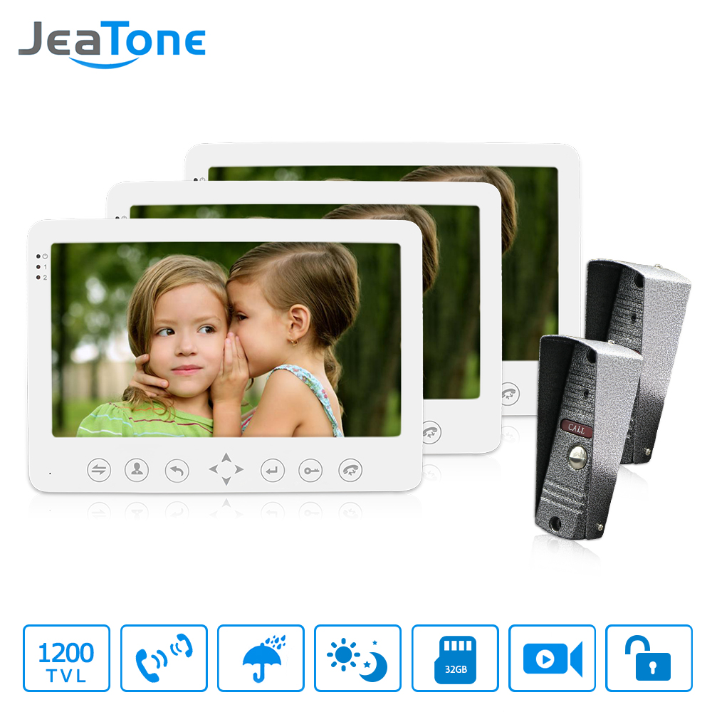 JeaTone 7 inch TFT Monitor With Camera Wired Video Door Phone Intercom system Video intercom for private house IR Night Vision tmezon 4 inch tft color monitor 1200tvl camera video door phone intercom security speaker system waterproof ir night vision 4v1