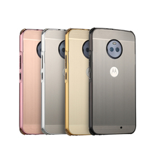For Motorola Moto E4 Plus Case Brushed Back Cover Hard with Plating Metal Frame for XT1773 5.5