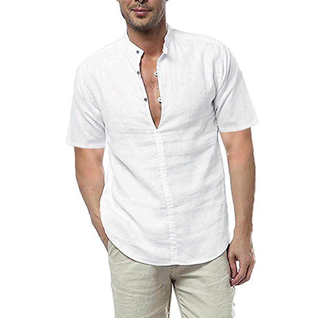 ファッション男性シャツ半袖リネン綿固体カジュアルな基本的なシャツの男性がレジャーフィットネスプルオーバーカミーサプラスサイズ 2019