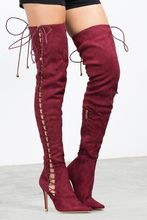 new fashion pointed toe over the knee boots sexy lace-up thigh high boos woman stretch fabric high heel boots beige