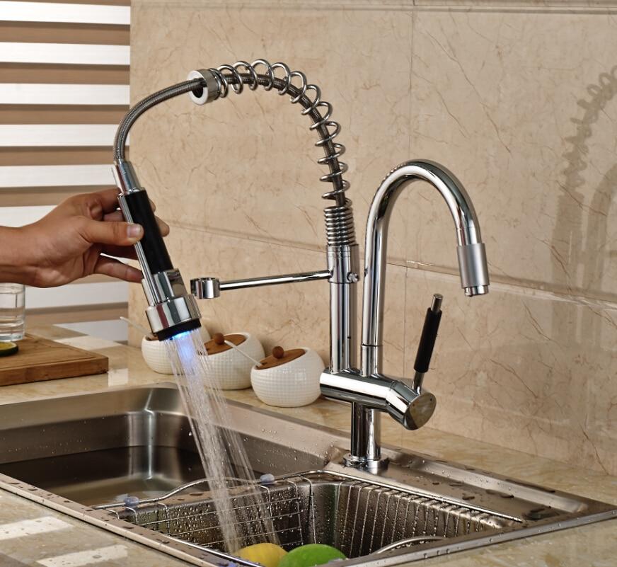 Luxury Dual Swivel Spout LED Light Kitchen Sink Faucet Deck Mount One Hole Spring Kitchen Mixer Taps