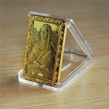 Leonardo Da Vinci Mona Lisa1 oz 24k gold plated Jesus bullion bar Commemerate Bar