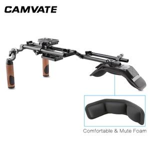 Image 4 - CAMVATE Camera Shoulder Rig With Foam Shoulder Pad & ARRI Rosette Dual Rod Clamp &Handle Grip For DSLR Camera Support System New