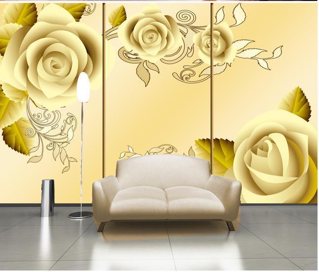 3d wallpaper , HD gold rose 3D green mural woods for Tv sofa ...
