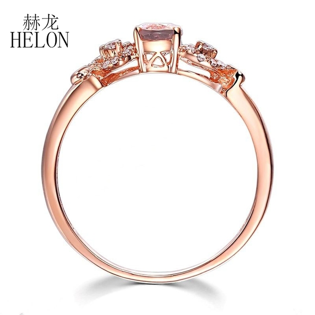 HELON Solid 14k Rose Gold Gemstone Prong Oval Shape 6X4mm Morganite Natural Diamond Beauty Bride Engagement Wedding Fine Ring 2