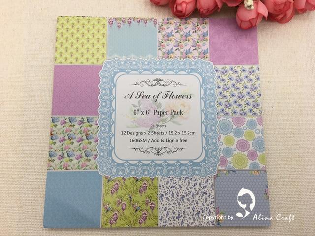 Alinacraft 24 Sheet 6 X6 Sea Flowers Patterned Paper Design