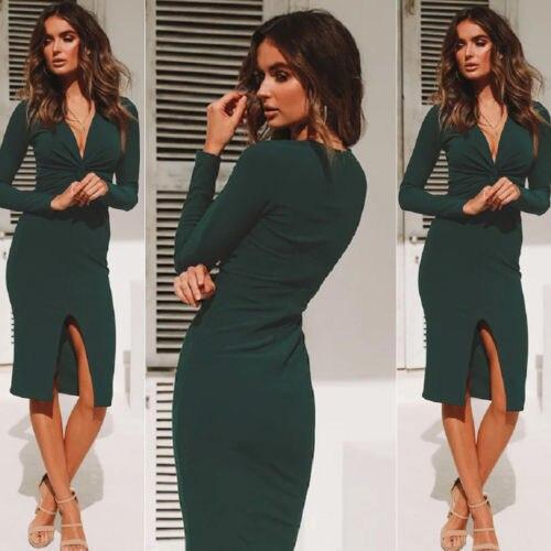 Ladies Womens Long Sleeve Stretch Bodycon Plain Jersey Maxi Dress Winter Autumn