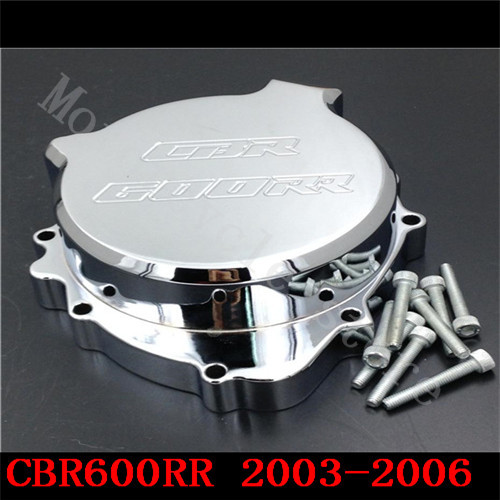 Fit for Honda CBR600RR CBR600 F5 2003 2004 2005 2006 Motorcycle Engine Stator cover Chrome Left side arashi motorcycle parts radiator grille protective cover grill guard protector for 2003 2004 2005 2006 honda cbr600rr cbr 600 rr