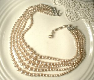 PRISTINE 1940 Champagne Glass Pearl Necklace,Vintage Art Deco Multi Strand Bridal Necklace Pave Rhinestone 1930s Wedding Jewelry(China)