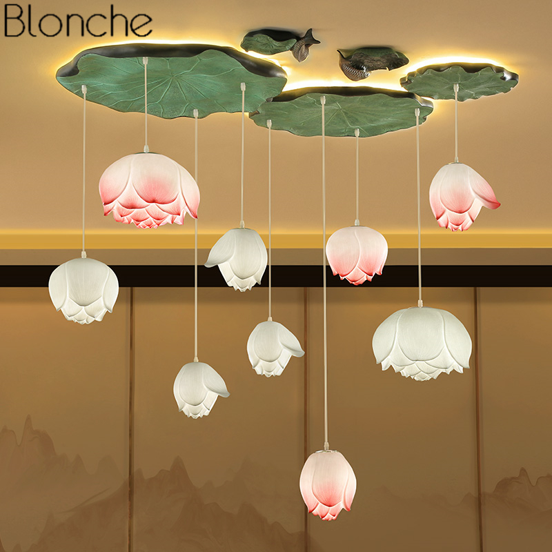 Chinese Style Lotus Pendant Lights Vintage Led Retro Flower Hanging Lamp Dining Room Kitchen Light Fixtures Luminaire Home Decor