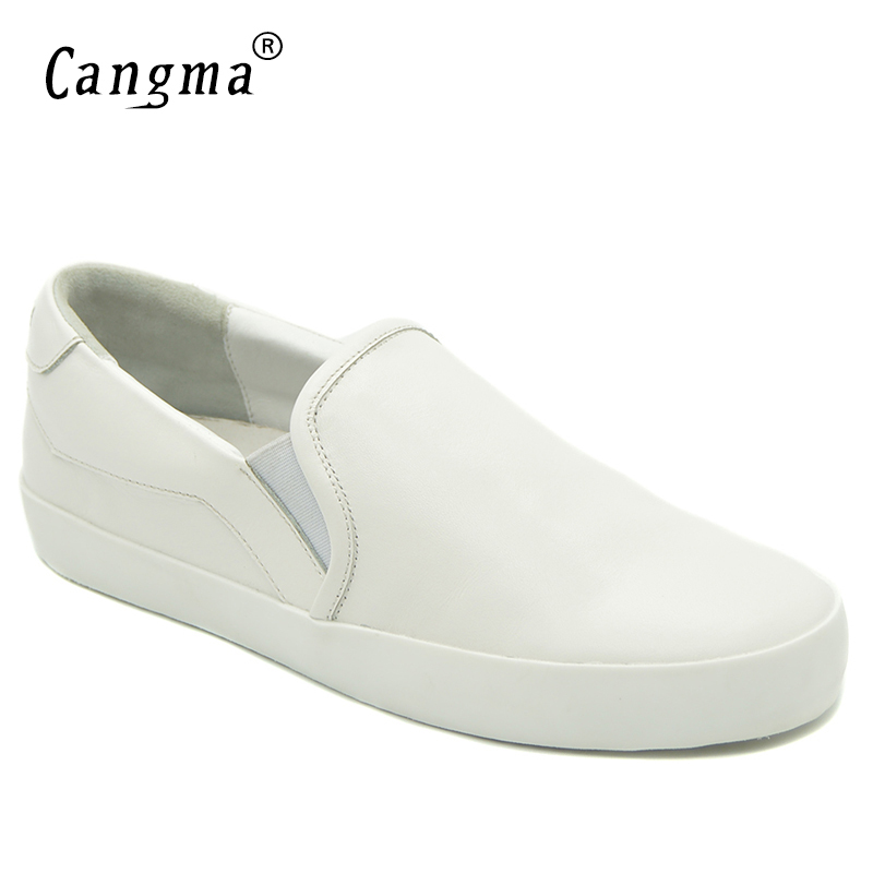 CANGMA  Brand Casual Shoes Womans Marque Female Autumn Genuine Leather Sneakers Women Loafer Slip On Girls Leisure ShoesCANGMA  Brand Casual Shoes Womans Marque Female Autumn Genuine Leather Sneakers Women Loafer Slip On Girls Leisure Shoes