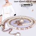 Feimu all-match pearl belly chain Women crystal diamond thin belt one-piece dress decoration accessories strap