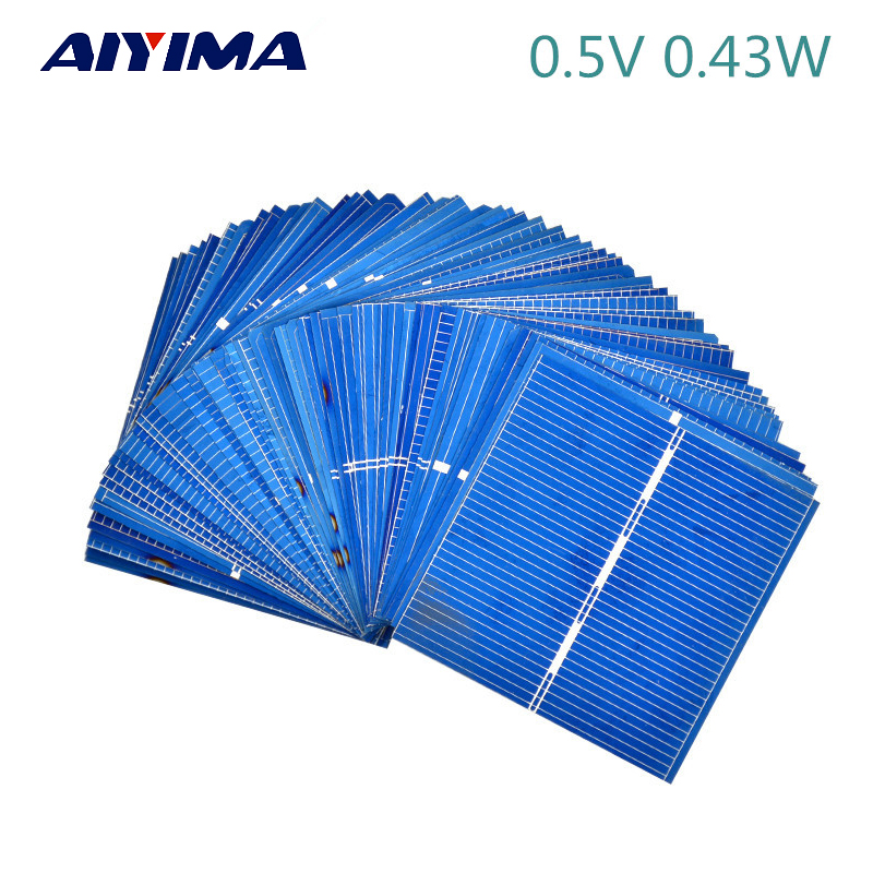 все цены на 50Pcs Solar Panel China Painel Solar For DIY  Solar Cells Polycrystalline Photovoltaic Panel DIY Solar Battery Charger онлайн