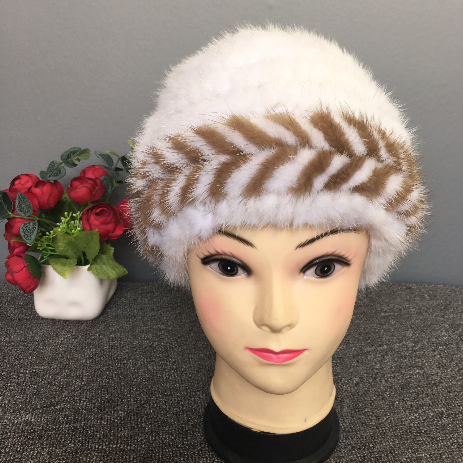 mink fur knitting hats for women thickened natural fur Knit Hat Cap ear warm 2017 Russian warm beanies hat female Knitted hats women russian women natural fur cap luxury knit mink fur hat winter fur hat 5 colors