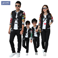 2017 autumn family matching clothes Cute fashion Sport Health cloth printing jacket coat + Pants family look family clothing set