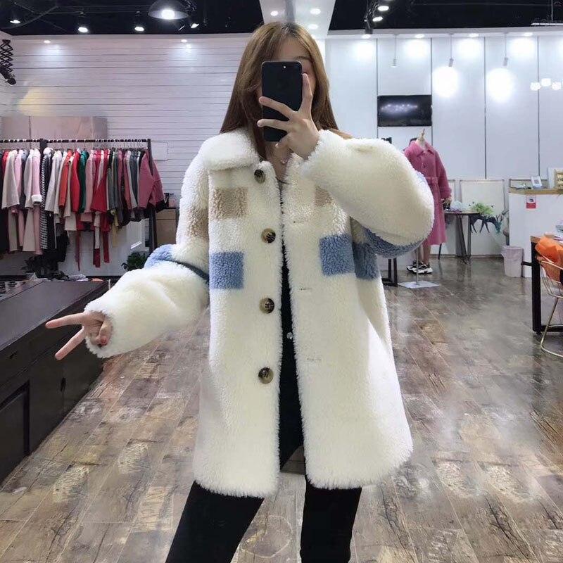 Nova moda preço real casaco de pele 2019 mulheres de inverno estilo do Teste padrão longo parka verdadeira pele gola turn dwon jaqueta casacos cor de rosa