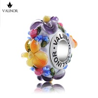Flower Story Glass Beads Charms 925 Sterling Silver Fit Bracelets Bangles For Women Jewelry GCLL039 1
