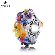 Цветок история стеклянные бусины 925 серебро Fit Браслеты для Для женщин jewelry GCLL039-1