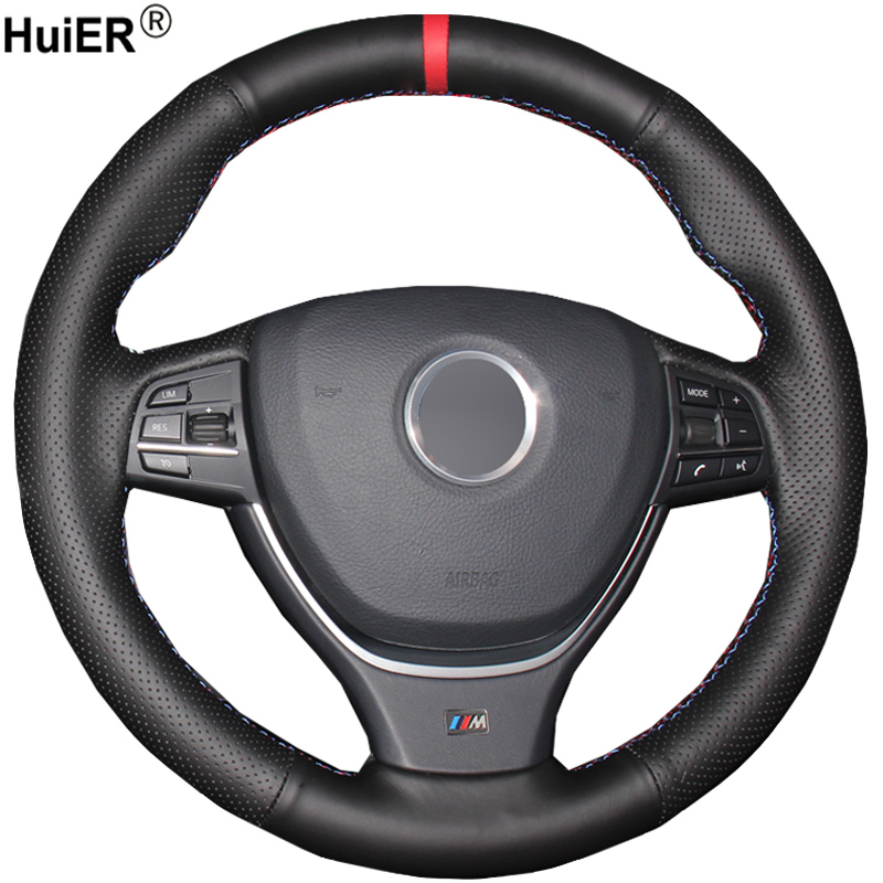 HuiER Hand Sew Car Steering Wheel Cover Red Marker For BMW F10 2014 520i 528i 2013 2014 730Li 740Li 750Li Non-slip Car Styling