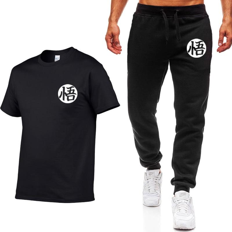 127a9c2a7 Verano 2019 camiseta de hombre + Pantalones conjunto Casual de dos piezas  Dragon Ball Goku estampado ...