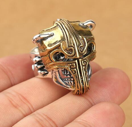 925 Silver Punk Ring Sterling Skeleton Man Ring Pure Silver Skull Ring punk style pure color hollow out ring for women