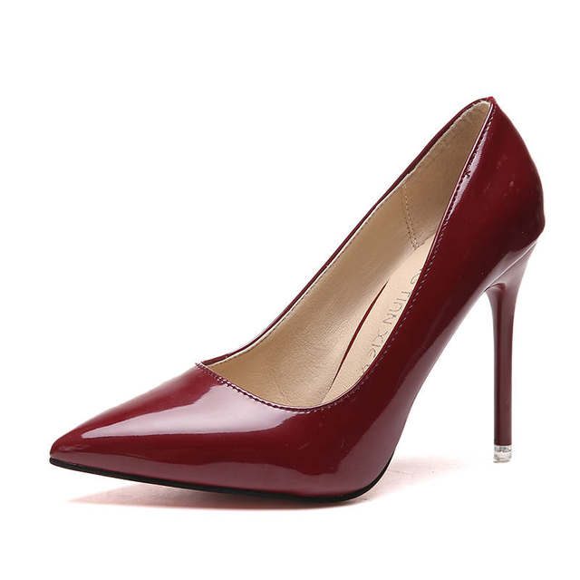 2019 HOT Women Shoes Pointed Toe Pumps Patent Leather Dress  High Heels Boat Shoes Wedding Shoes Zapatos Mujer Blue White 31
