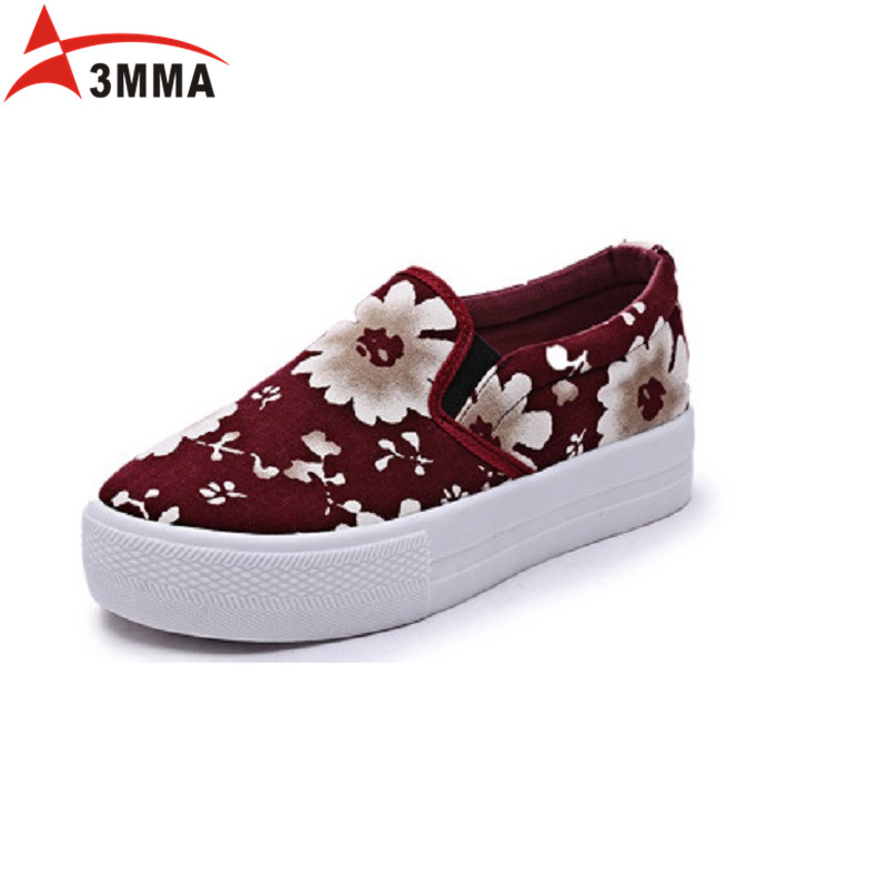 3MMA 2017 Fashion Spring Handmade Breathable Canvas Casual Flower Shoes Flat Casual Platform Loafers Women Slip on Loafer Flats нижнее белье из латвии где