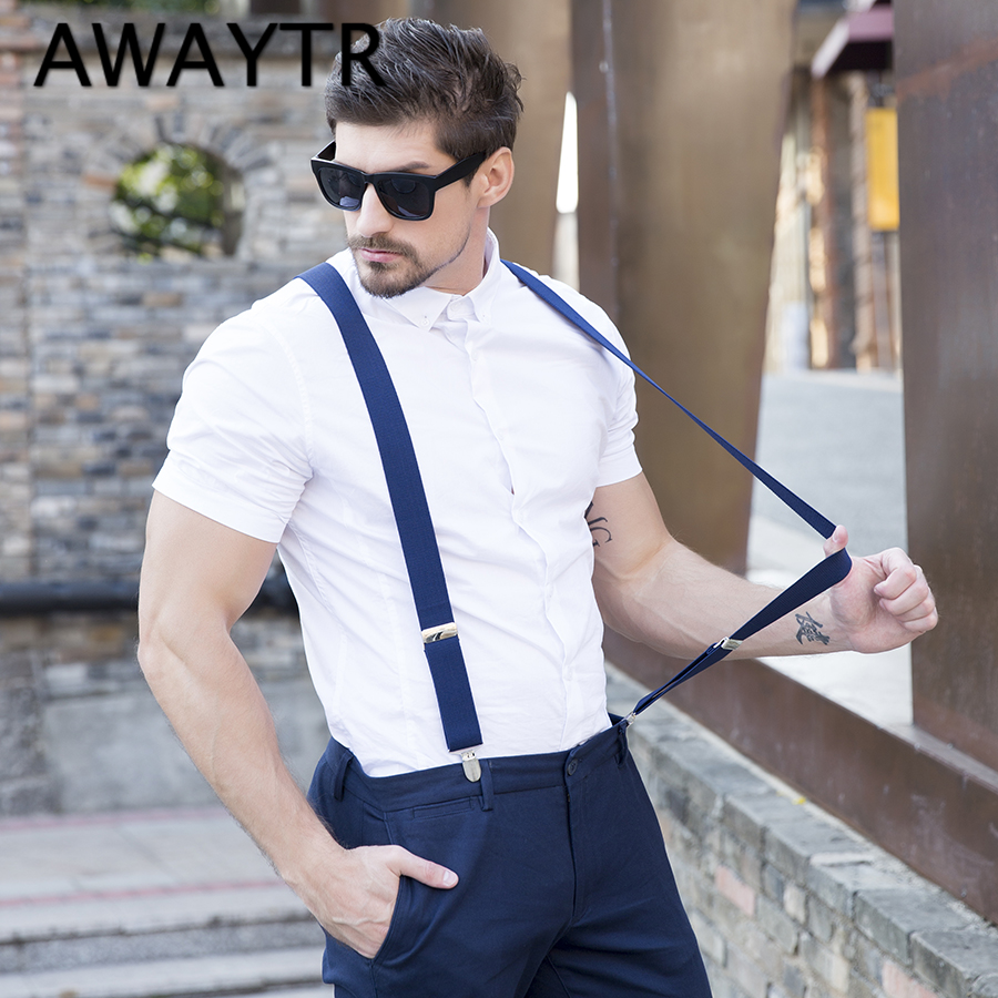 vasta gamma beni di consumo prezzo speciale per Fashion 4 Clip Suspenders Man's PU Leather Braces Adjustable ...