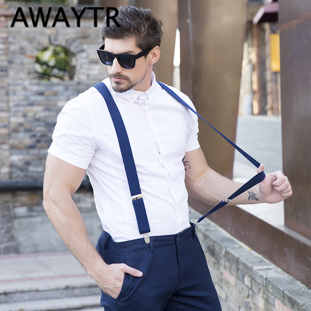 c0cecfd3b Fashion 4 Clip Suspenders Man s PU Leather Braces Adjustable Bretelles  Y-Back Ligas Tirantes Gift for Father Husband 3.5 110cm