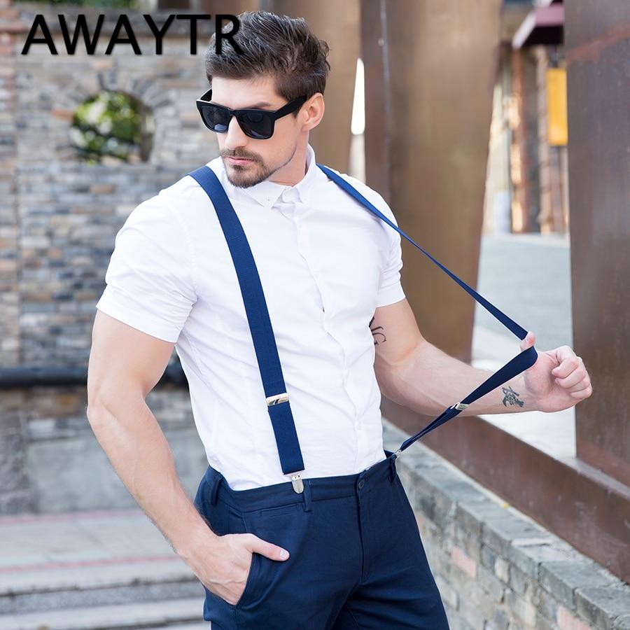 Fashion 4 Clip Suspenders Mans PU Leather Braces Adjustable Bretelles Y-Back Ligas Tirantes Gift for Father Husband 3.5*110cm