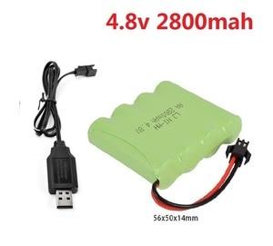 YUKALA 4.8V 700mAh/1800MAH/2800MAH Ni-CD rechargable battery+USB charger for RC Truck/ RC car/ RC boat /RC tank size:65*50*14mm(China)