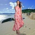 FHILLINUO summer long dress женщины Без Рукавов красный цветочный принт шифон beach dress холтер шеи Сексуальная boho платья партии