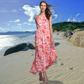 FHILLINUO summer long dress women Sleeveless red floral print chiffon beach dress halter neck Sexy boho party dresses