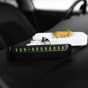 Image 2 - Phone Number In The Car Bulldog Temporary Parking Card Night Luminous Phone Number Car Plate Car Accessories Styling Car Sticker