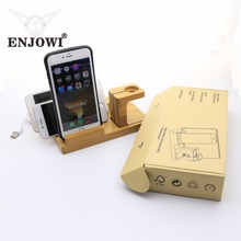 Bamboo Wood Charge Multi-function Pen Watch Phone Stand Holder Desk For Apple iPhone iPad Charging Dock Station with 4 USB Port