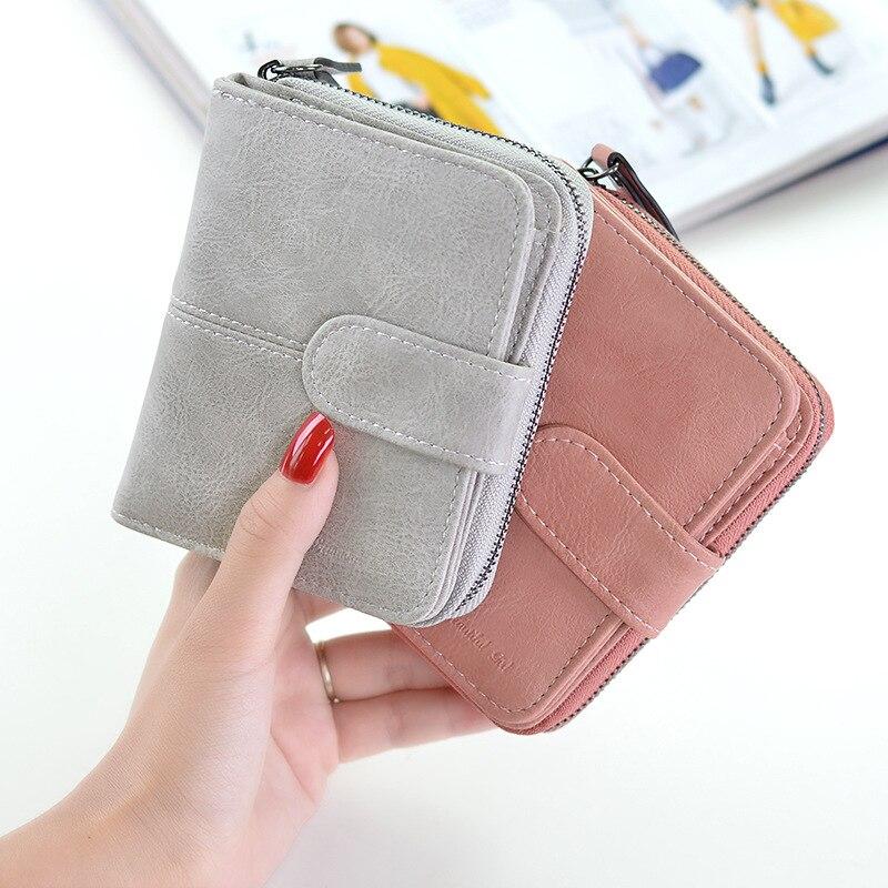 New 2019 Women  Short PU Leather Wallet High Quality Coin Purse Ladies Retro Female Dollar Price Hasp Handbag Clutch Carteras
