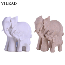 VILEAD White Sandstone Elephant Mother & Son Figurines Miniatures Animal Statuettes Vintage Home Decor Creative Office Souvenirs